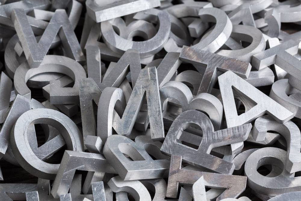 letters for sign cut by cnc waterjet machine